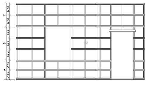 Монтажная схема горизонтальной обрешетки для стен типа 1